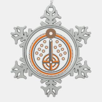 Fahrrad zerteilt Roundel Muster Schneeflocken Zinn-Ornament