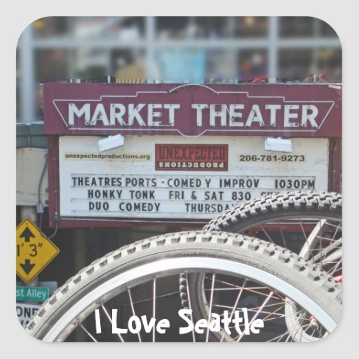 Fahrräder am Theater Quadrataufkleber