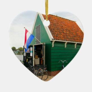 Fahrräder, niederländisches Windmühlendorf, Keramik Ornament
