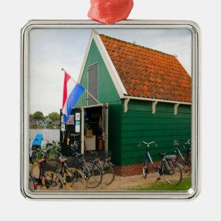 Fahrräder, niederländisches Windmühlendorf, Silbernes Ornament