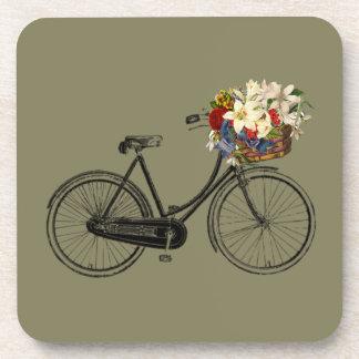 Fahrradfahrrad-Blumen-Setgetränk-Untersetzer Taupe Untersetzer