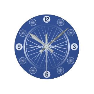 Fahrradräder blau runde wanduhr