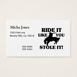 Fahrt, die es Sie mag, stahl es Cowboy Visitenkarte