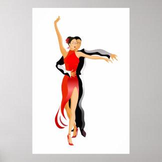 Fahrwerk. Rumba Tänzer-Tanz-Reihen Poster