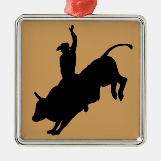 Fahrwiderlicher Stier-Reitrodeo-Cowboy oben Silbernes Ornament