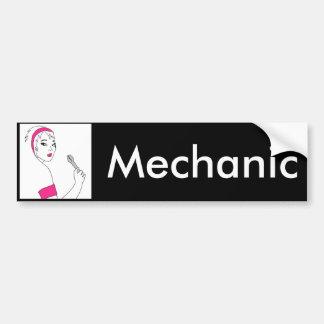 Fahrzeug-Reparatur-Frau-Mechaniker Autoaufkleber