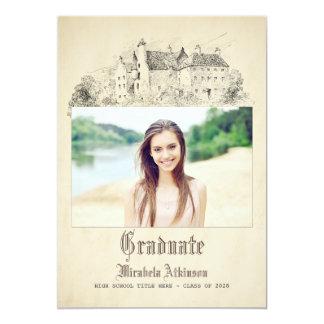 Fairytale-altes Vintages Schloss-Abschluss-Party 12,7 X 17,8 Cm Einladungskarte