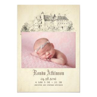 Fairytale-Schloss-Prinzessin Newborn Baby Foto 12,7 X 17,8 Cm Einladungskarte