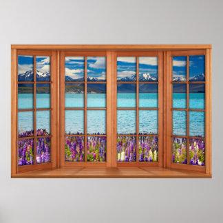 Fake-Fenster-Illusion - Mountainsee im Frühjahr Poster