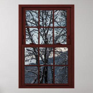Fake-Fenster - Illusion - Winter-Holz-Ansicht 2 Poster