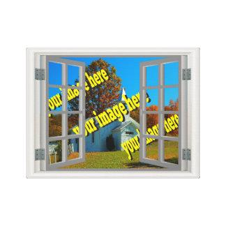 Fake-Fenster schaffen Ihr eigenes weißes Grau Leinwanddruck