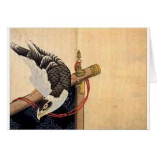 Falke auf einem Zeremoniell stehen Katsushika Karte