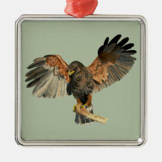 Falke-Flattern Wings Aquarell-Malerei Silbernes Ornament