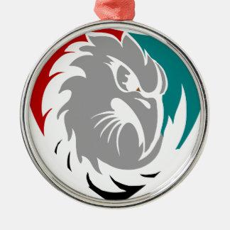 Falke-Sicherheits-Schutz-Schild Rundes Silberfarbenes Ornament