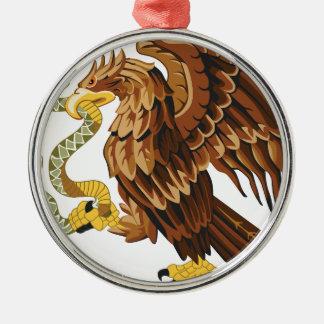 Falke und Schlange Rundes Silberfarbenes Ornament