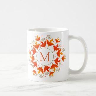 Fall-Blatt-Monogramm Kaffeetasse