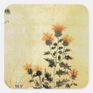Fall-Blumen Quadratischer Aufkleber