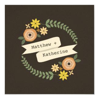 Fall-BlumenKranz-Hochzeit von den Eltern der Braut Quadratische 13,3 Cm Einladungskarte