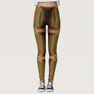 Fall-Brown-Farben auf Stammes- Muster Leggings