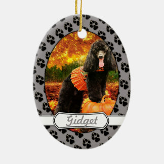 Fall-Erntedank - Gidget - Pudel Ovales Keramik Ornament