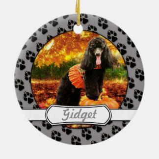 Fall-Erntedank - Gidget - Pudel Rundes Keramik Ornament