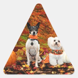 Fall-Erntedank - Monty Fox-Terrier u. Milly Malz Dreieckiger Aufkleber
