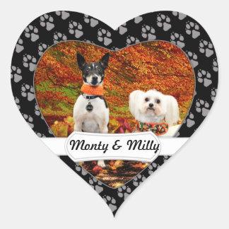Fall-Erntedank - Monty Fox-Terrier u. Milly Malz Herz-Aufkleber