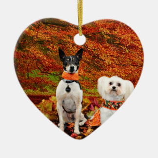 Fall-Erntedank - Monty Fox-Terrier u. Milly Malz Keramik Herz-Ornament