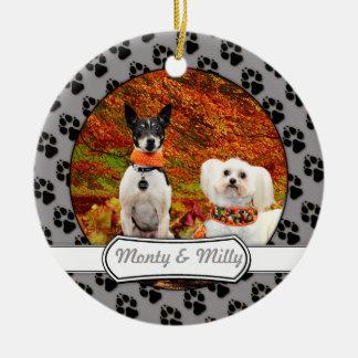 Fall-Erntedank - Monty Fox-Terrier u. Milly Malz Keramik Ornament