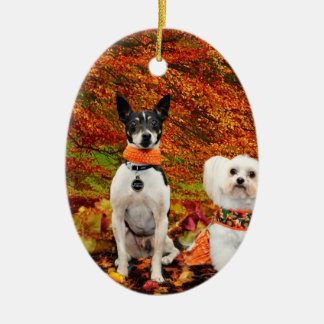 Fall-Erntedank - Monty Fox-Terrier u. Milly Malz Keramik Ornament