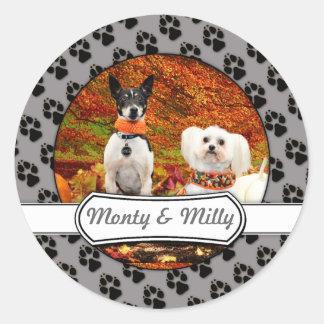 Fall-Erntedank - Monty Fox-Terrier u. Milly Malz Runder Aufkleber