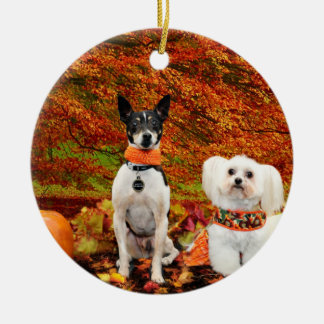 Fall-Erntedank - Monty Fox-Terrier u. Milly Malz Rundes Keramik Ornament