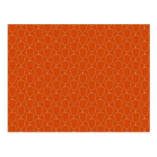 Fall-Herbst-orange Eichel-Nuss-Kontur-Muster Postkarte