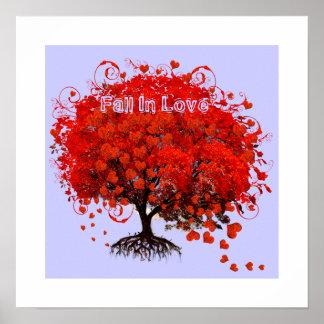 Fall in die Liebe-Plakat-Strudel-Herzen, die vom Poster