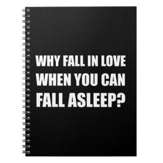 Fall in die Liebe schlafend Notizblock