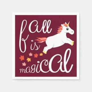 Fall ist magische Einhorn-Kastanienbraun-Serviette Papierserviette