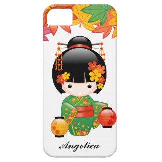 Fall Kokeshi Puppe - grünes Kimono-Geisha-Mädchen iPhone 5 Cover