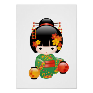 Fall Kokeshi Puppe - grünes Kimono-Geisha-Mädchen Poster