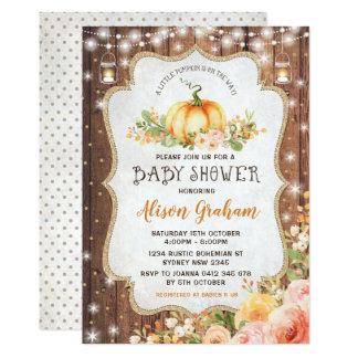 Fall-Kürbis-Babyparty-Einladungs-Herbst mit Blumen Karte