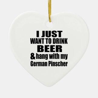 Fall mit meinem deutschen Pinscher Keramik Ornament
