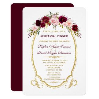FALL-Proben-Abendessen Burgunders Marsala Blumen Karte