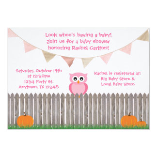 Fall-rosa Eule auf Zaun-Babyparty-Einladung