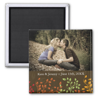 Fall-Save the Date Foto-Hochzeits-Magnet Quadratischer Magnet