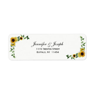 Fall-Sonnenblume-rustikale Scheunen-Land-Hochzeit Kleiner Adressaufkleber