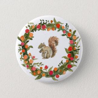 Fall Wreath mit Eichhörnchen-Wasserfarbe Runder Button 5,7 Cm