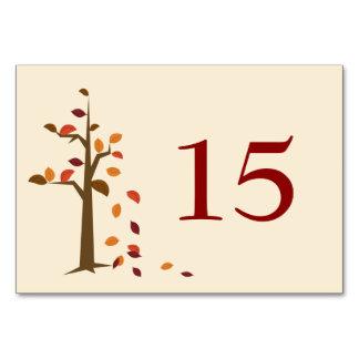 Fallbaum, Hochzeit im Herbsts-Tischnummern Karte
