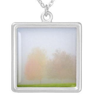 Fallbäume eingehüllt in Nebel Versilberte Kette