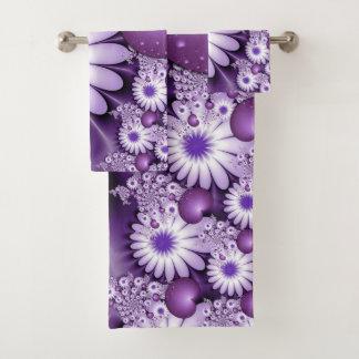 Fallen in Liebe-abstraktes Blumen-u. Herz-Fraktal Badhandtuch Set