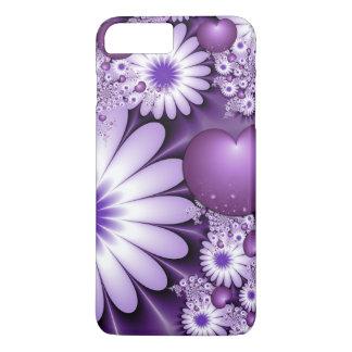 Fallen in Liebe-abstraktes Blumen-u. Herz-Fraktal iPhone 8 Plus/7 Plus Hülle