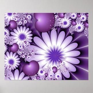 Fallen in Liebe-abstraktes Blumen-u. Herz-Fraktal Poster